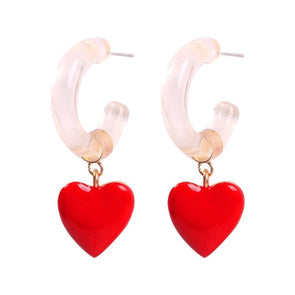 Betty Enamel Heart Earrings Red