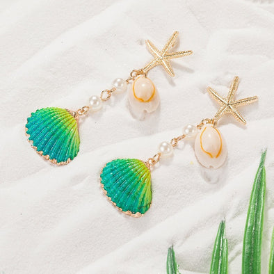 Agnes Drop Earrings With Shell And Pearls
