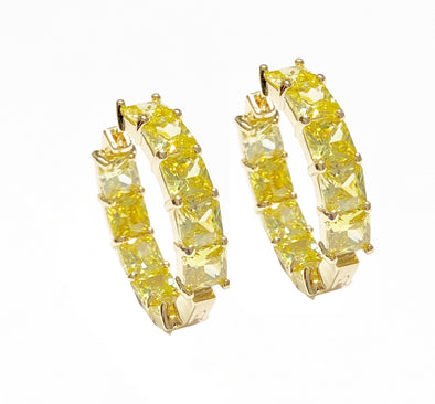 Yellow Square Crystal Earrings Gold Plated