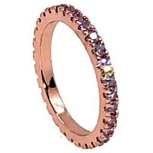Stacking Ring Purple Round Thin Rose Gold Plated