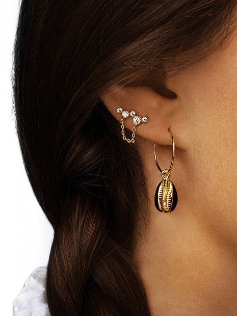 Earrings Cauris Gold Plated Shell Black