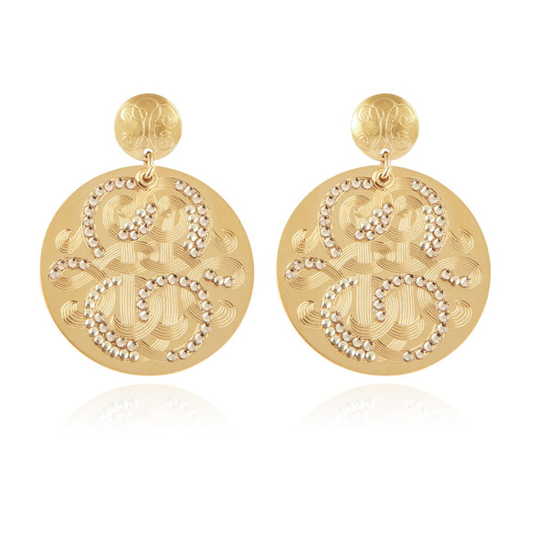 Diva Strass Earrings Large Gold