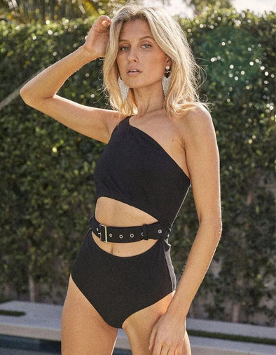 HIGH SOCIETY ONE SHOULDER BELTED BODYSUIT - BLACK