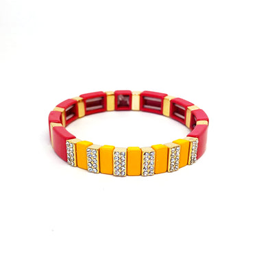 Precious Color Block Elastic  Bracelet Orange/ Red