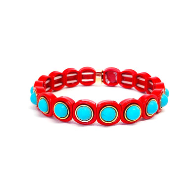 Sparkling Color Block Elastic Bracelet Red