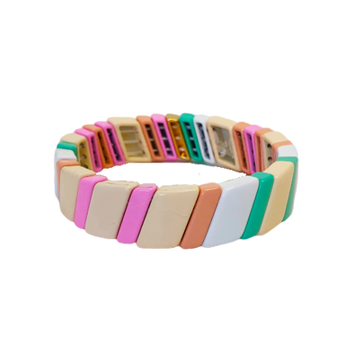 California Color Block Diagonal Elastic Bracelet