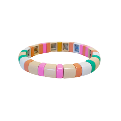 California Rounded Color Block Elastic Bracelet