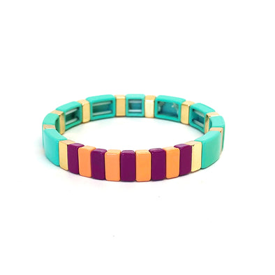 Sugar Candy Color Block Elastic Bracelet Turquoise