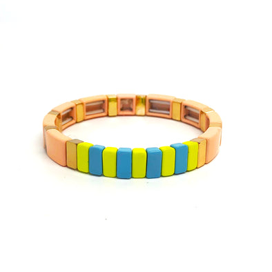 Sugar Candy Color Block Elastic Bracelet Nude