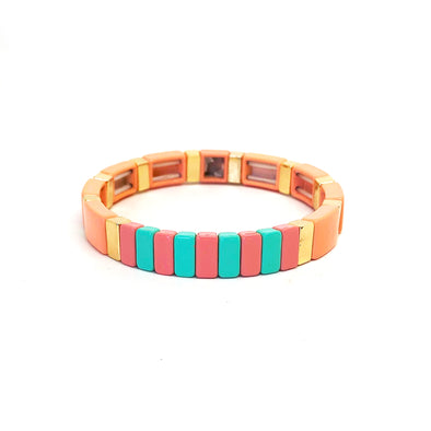 Sugar Candy Color Block Elastic Bracelet Tan