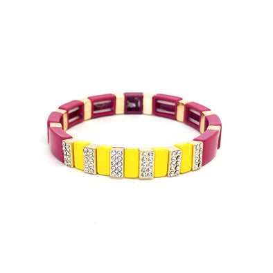 Precious Color Block Elastic  Bracelet Burgundy/ Yellow