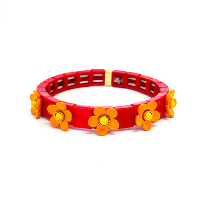 Daisy Color Block Elastic Bracelet Red/ Tangerine