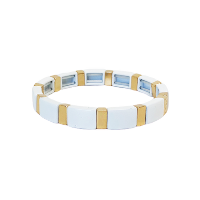 Simply White Color Block Elastic Bracelet