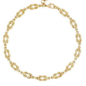 Amanda Rope Knot Chain Necklace Gold Plated 40cm
