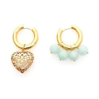 Alia Asymetrical Heart And Beads Hoops