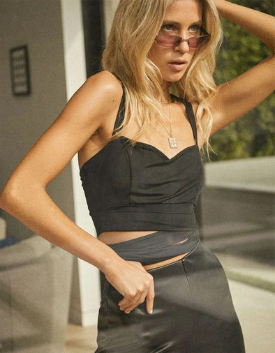 SO SASSY WRAP TIE CROP TOP - BLACK