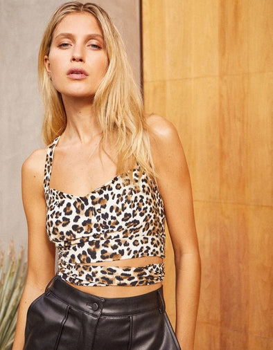 SO SASSY WRAP TIE CROP TOP - LEOPARD PRINT