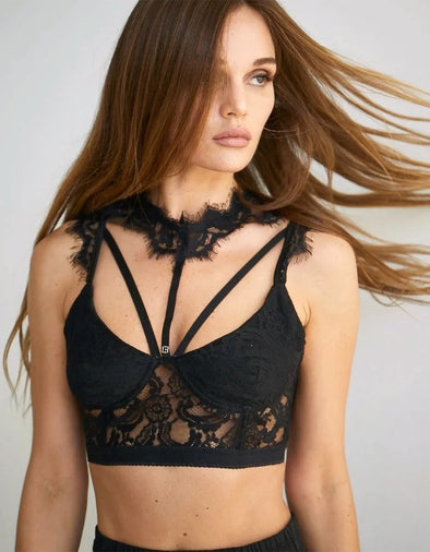 TRUE LOVE HIGH NECK LACE CROP TOP - BLACK