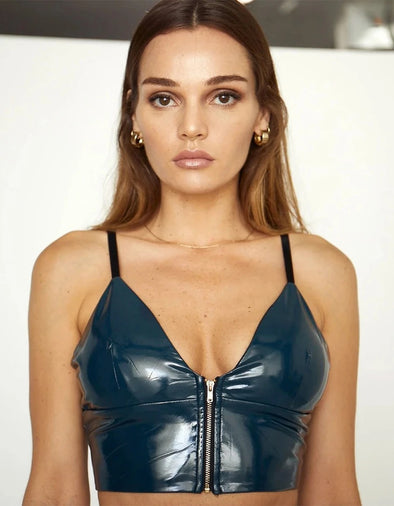 WANTING IT ALL VEGAN LEATHER CROP TOP - NAVY
