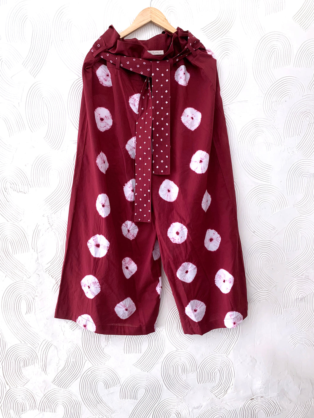 Red Shibori Cotton Paper Bag Waist Pants