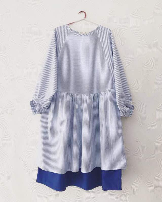 Blue Stripe Double layer Dress