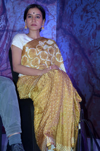 Mustard Bandhani and Shibori Silk Saree
