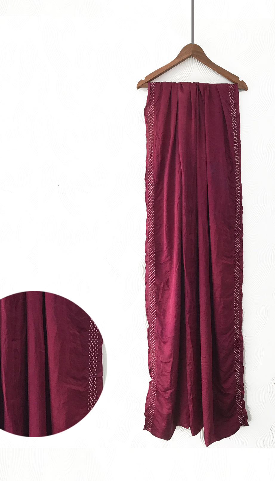 Wine Hand-done Bandhani Silk Saree