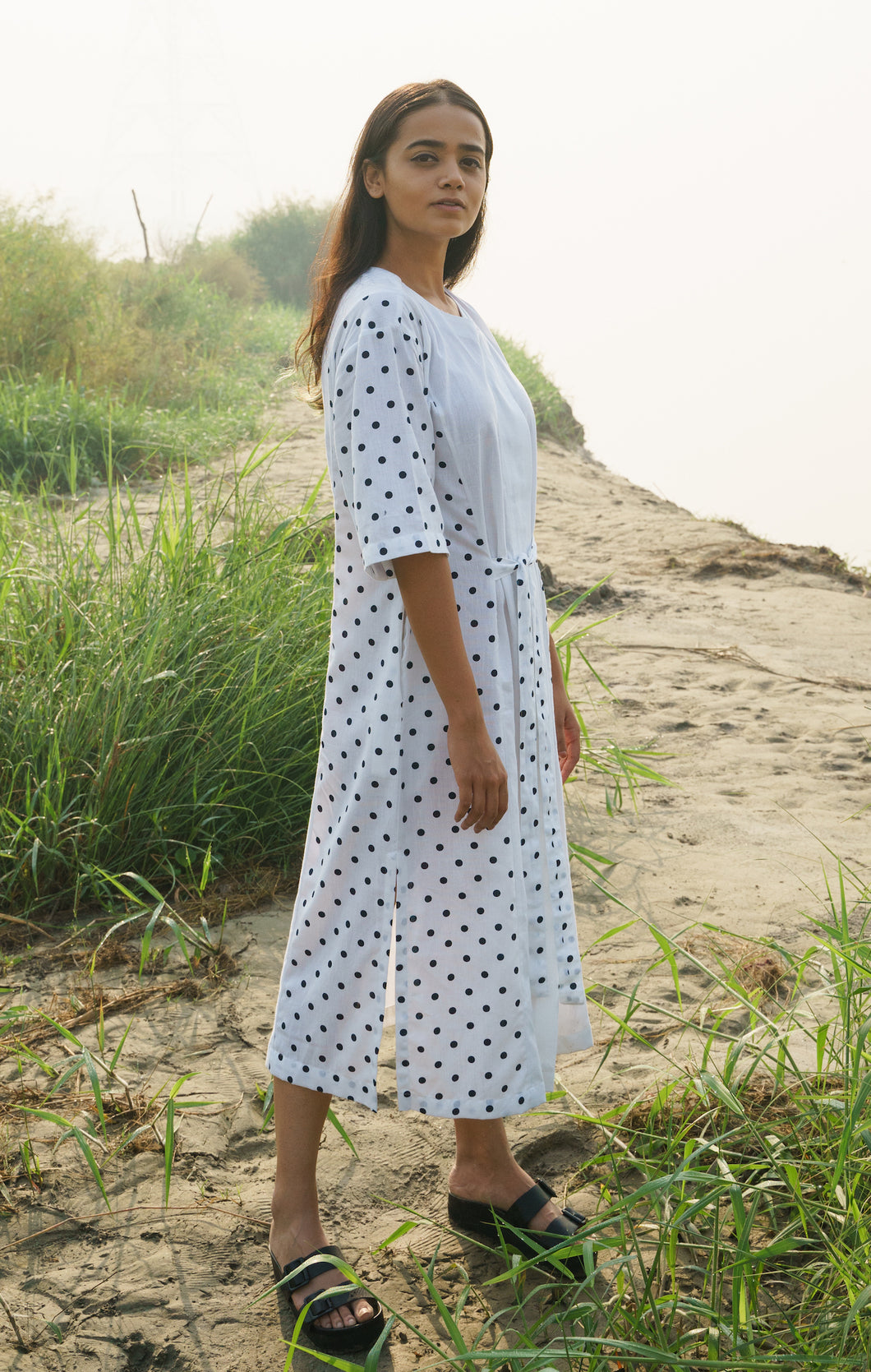White Polka Dress