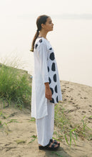 Load image into Gallery viewer, White Assymetrical Dots Kurta With Stripes Pants