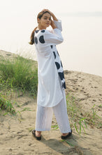 White Assymetrical Dots Kurta With Stripes Pants