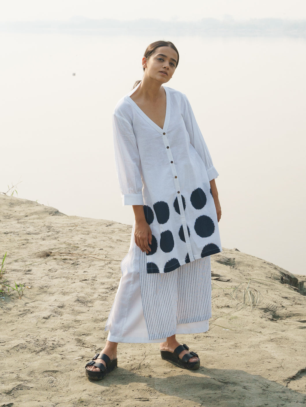 White Front Open Kurta with Side Loops