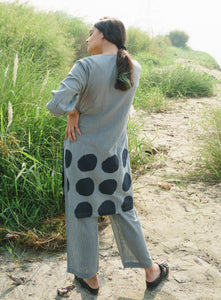 Green Side Loops Kurta with Stripes Pants