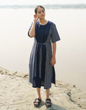Load image into Gallery viewer, Blue Cotton Stripes Panel Dress