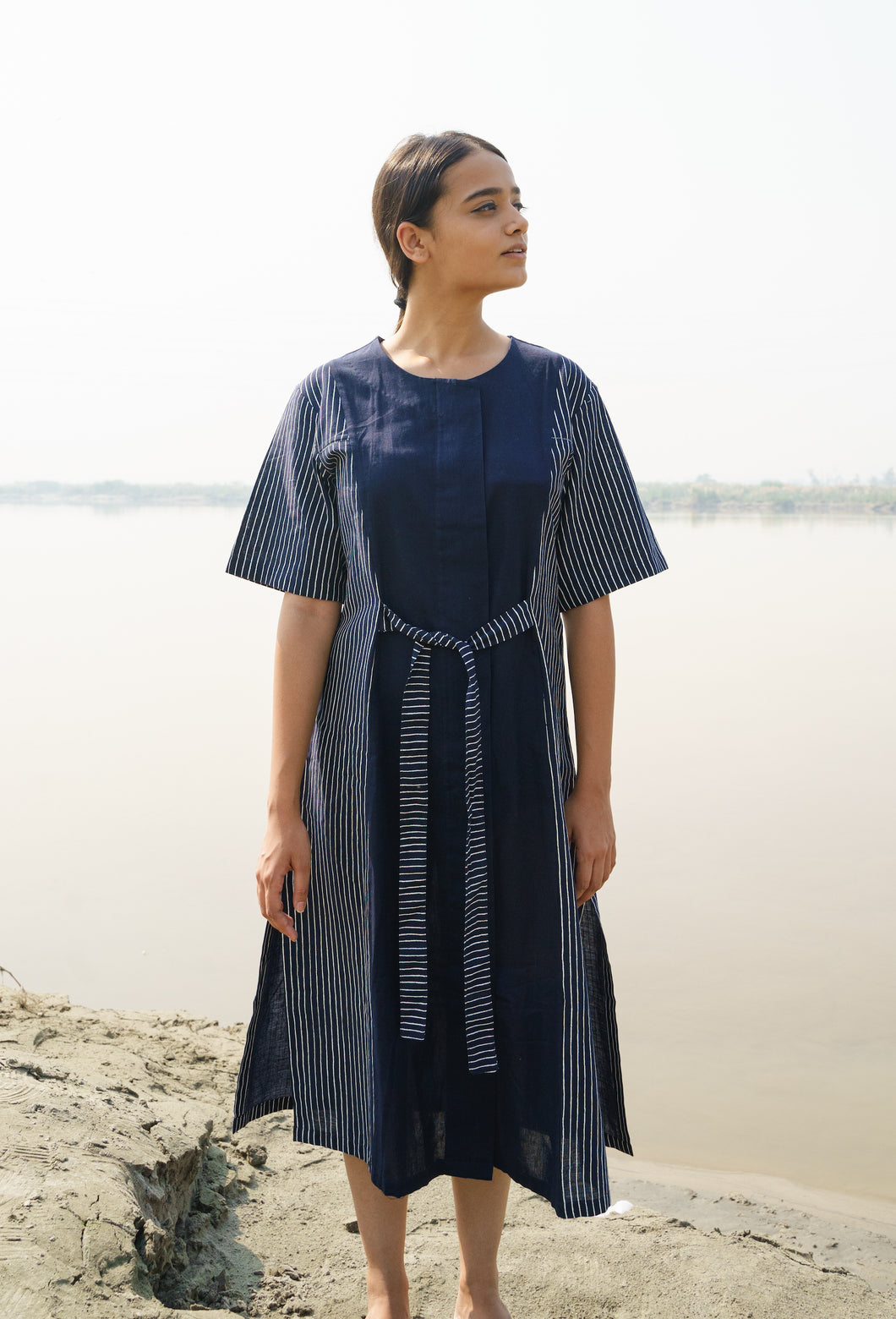 Blue Cotton Stripes Panel Dress