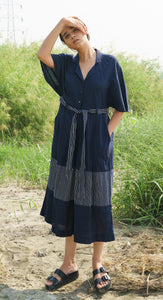 Blue Jumpsuit with Stripes Panel