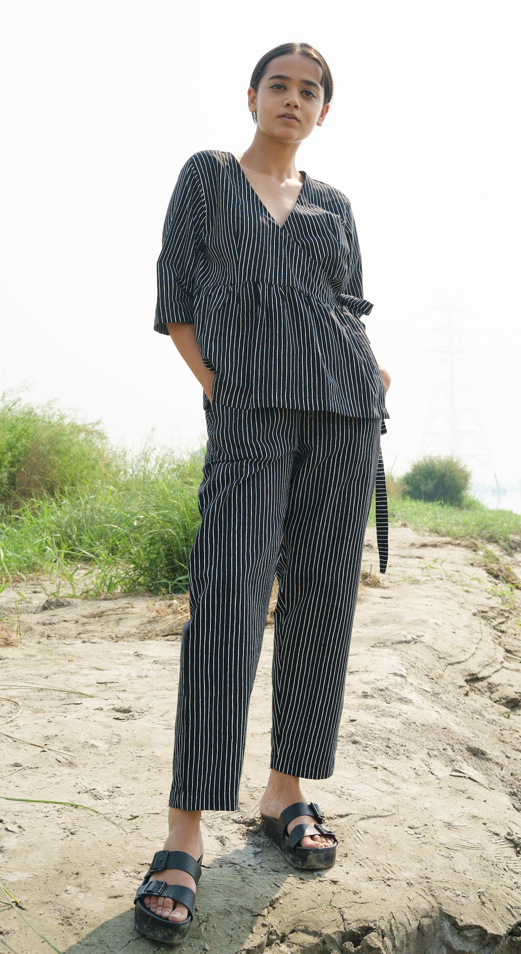 Black Stripes Cotton Pants