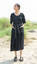 Load image into Gallery viewer, Black Cotton Dress with Stripes Belt