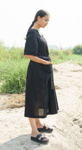 Black Cotton Dress with Stripes Belt
