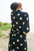 Load image into Gallery viewer, 100% Cotton Black and polka bodice dress