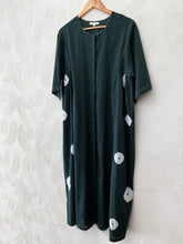 Load image into Gallery viewer, BOTTLE GREEN COTTON SILK BANDHANI PANEL DRESS
