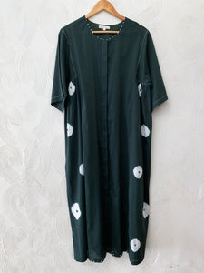 BOTTLE GREEN COTTON SILK BANDHANI PANEL DRESS