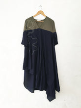 Green and Blue Bias Drape Dress