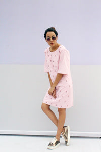Pastel Pink Hand Embroidered Dress