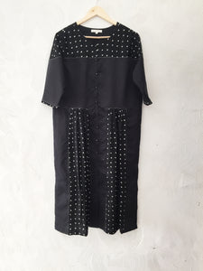 Black Chanderi and Bandhani Kurta