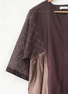 Brown Chanderi Kurta with Hand embroidery detail