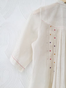 Handwoven Chanderi Pleated Kurta with Floral Hand Embroidery Set