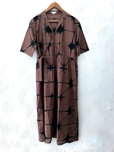 Brown and Black Clamp Dyed Dress