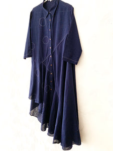 Blue Bias Drape Dress with Hand embroidered Circles