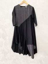 Load image into Gallery viewer, Black Bias Drape Dress with Stripes detail
