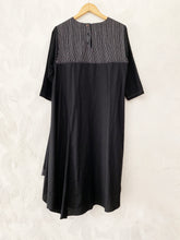 Black Bias Drape Dress with Stripes detail